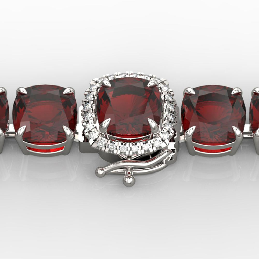 35 ctw Garnet & VS/SI Diamond Bracelet 14K White Gold - REF-134H2M - SKU:23309