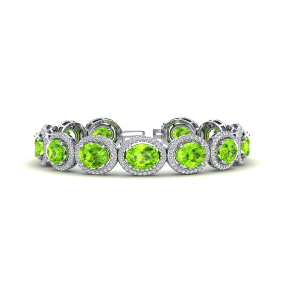 27 ctw Peridot & VS/SI Diamond Bracelet 10K White Gold - REF-409R3K - SKU:22693