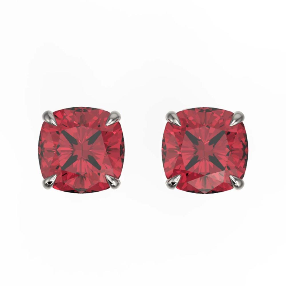 4 ctw Cushion Cut Pink Tourmaline Stud Earrings 18K White Gold - REF-76Y4X - SKU:21756