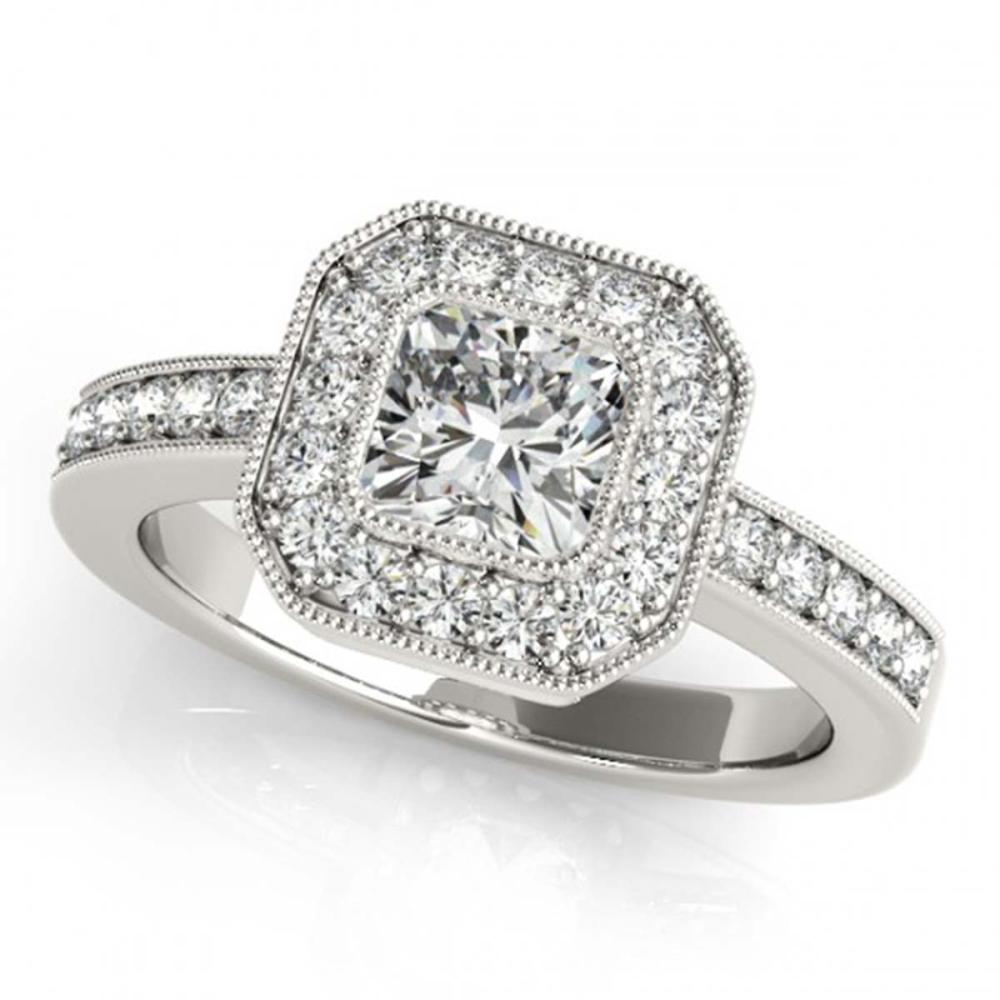 0.80 ctw VS/SI Cushion Diamond Halo Ring 14K White Gold - REF-103Y2X - SKU:25022