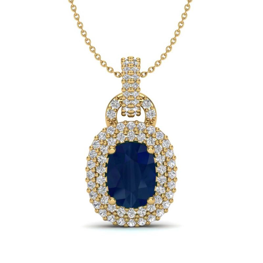 2.50 ctw Sapphire & VS/SI Diamond Necklace 14K Yellow Gold - REF-68M2F - SKU:20447