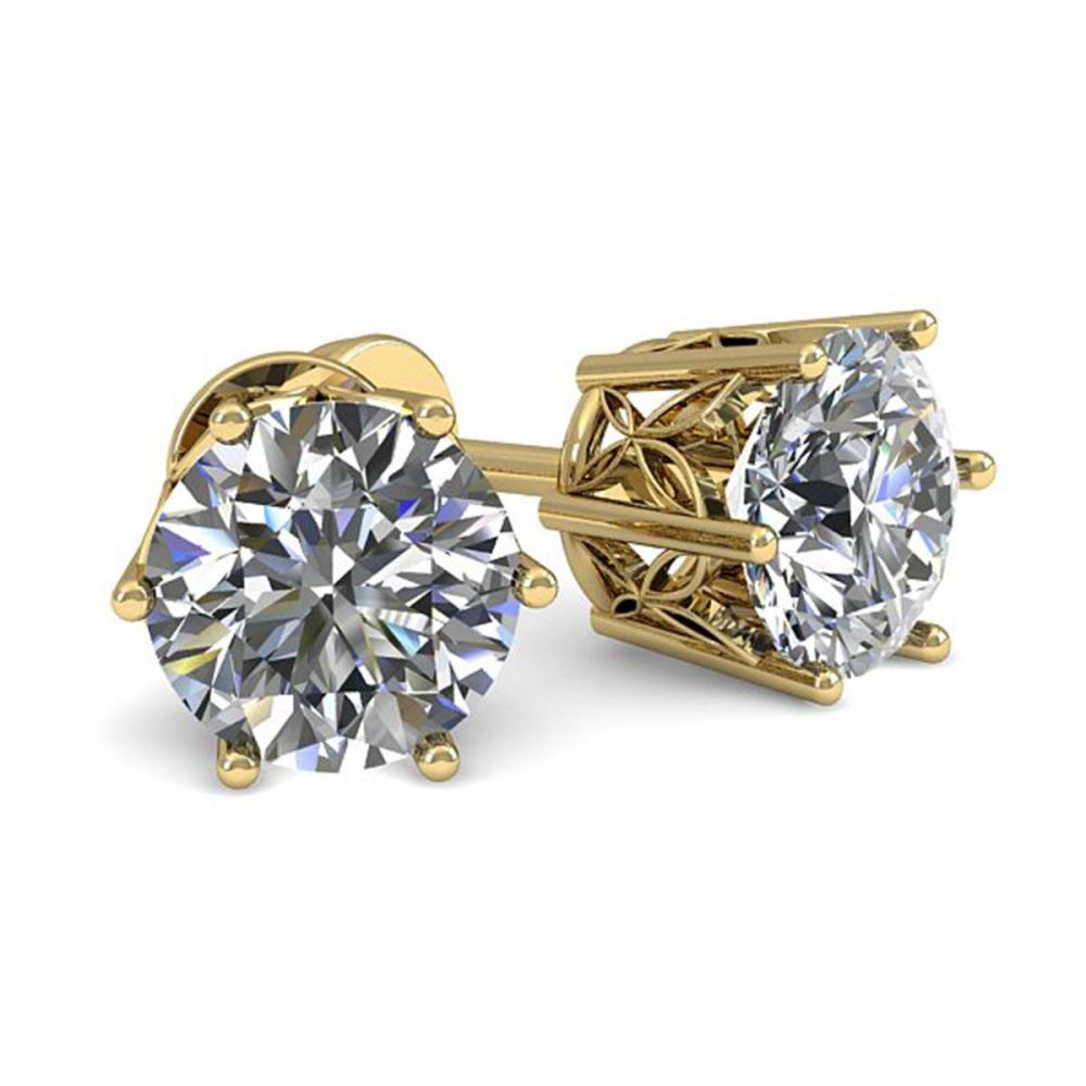 0.50 ctw VS/SI Diamond Stud Art Deco Earrings 14K Yellow Gold - REF-42W3H - SKU:29650