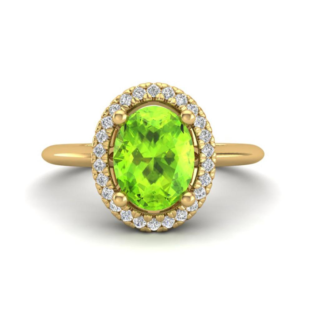 1.75 ctw Peridot & VS/SI Diamond Ring Halo 18K Yellow Gold - REF-51X3R - SKU:21017