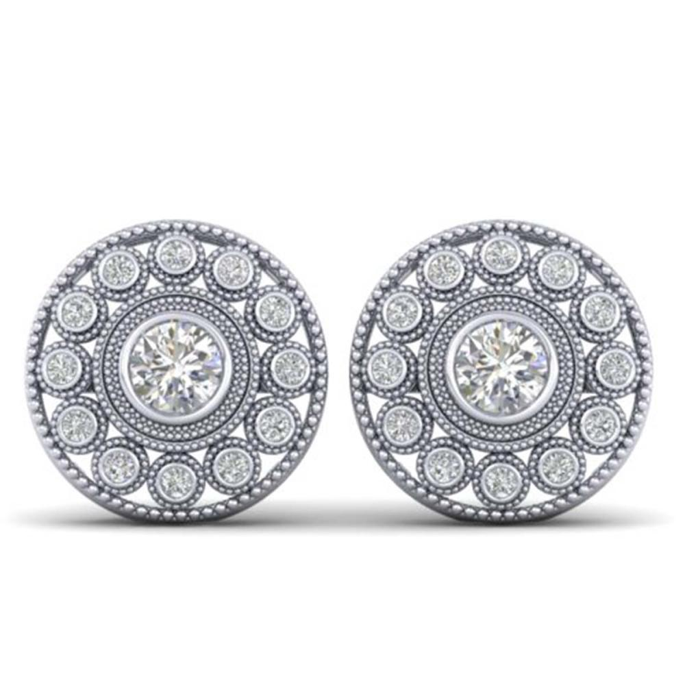 1.11 ctw VS/SI Diamond Art Deco Stud Earrings 18K White Gold - REF-140A9V - SKU:32723