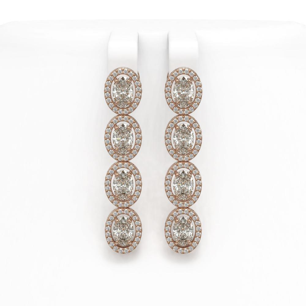 5.33 ctw Oval Diamond Earrings 18K Rose Gold - REF-736F8N - SKU:42621