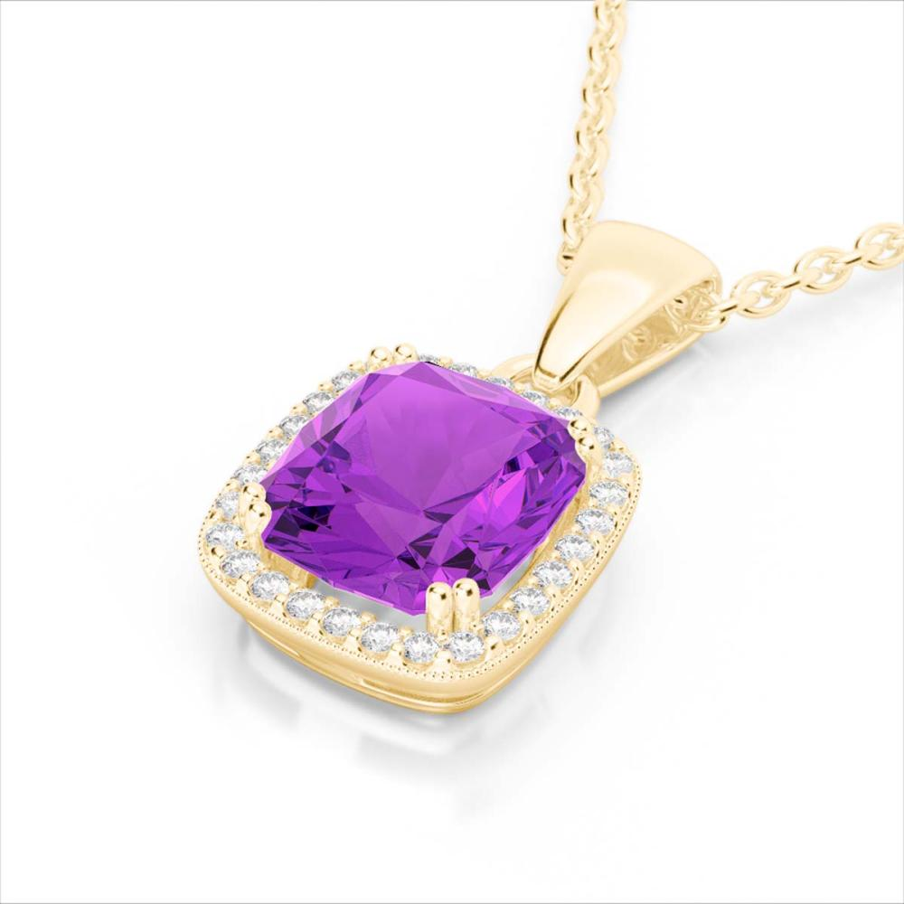 3 ctw Amethyst & VS/SI Diamond Necklace 18K Yellow Gold - REF-48X9R - SKU:22817
