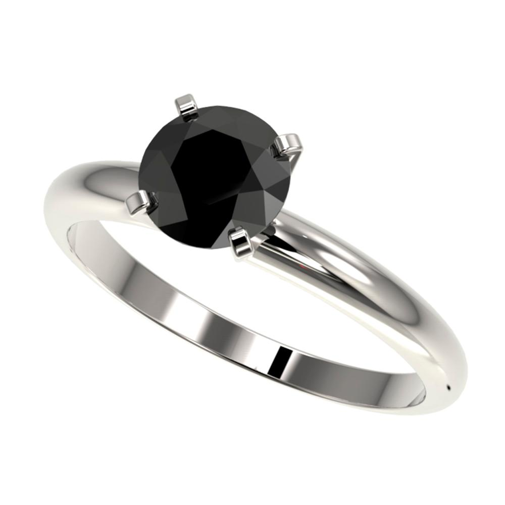 1.25 ctw Fancy Black Diamond Solitaire Ring 10K White Gold - REF-32A5V - SKU:32906