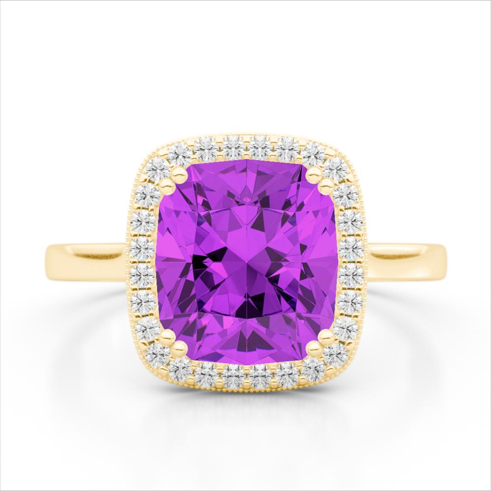 2.75 ctw Amethyst & VS/SI Diamond Halo Ring 18K Yellow Gold - REF-50K4W - SKU:22837