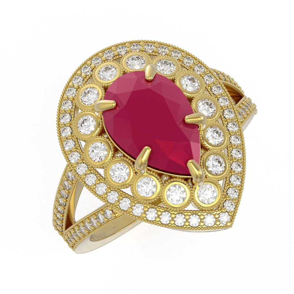 5.12 ctw Ruby & Diamond Ring 14K Yellow Gold - REF-153X3R - SKU:43123