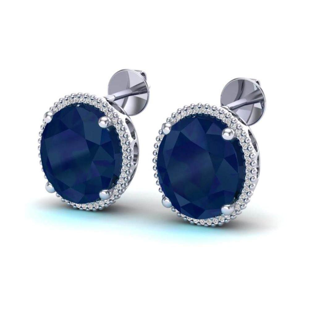 25 ctw Sapphire & VS/SI Diamond Earrings 18K White Gold - REF-200F2N - SKU:20277
