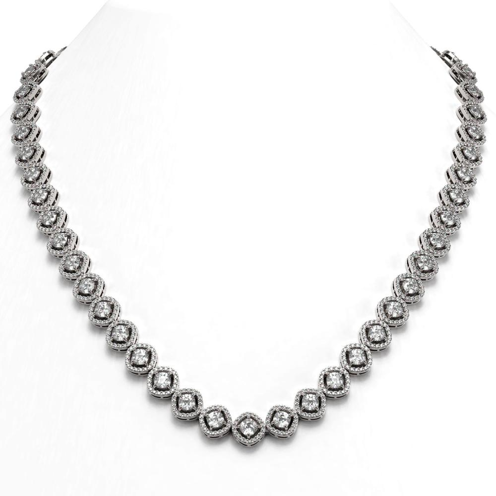 18.43 ctw Cushion Diamond Necklace 18K White Gold - REF-1605V7Y - SKU:42974
