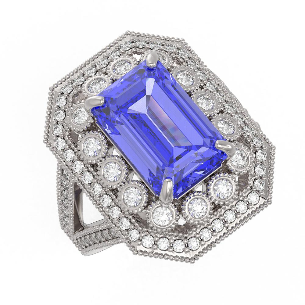 5.86 ctw Tanzanite & Diamond Ring 14K White Gold - REF-263F5N - SKU:43373