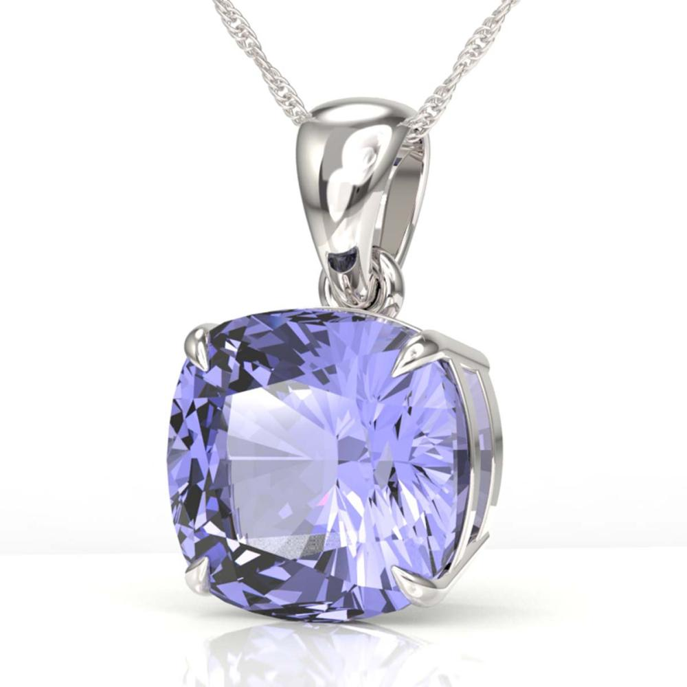 6 Cushion Cut Tanzanite Necklace 18K White Gold - REF-209W3H - SKU:22003