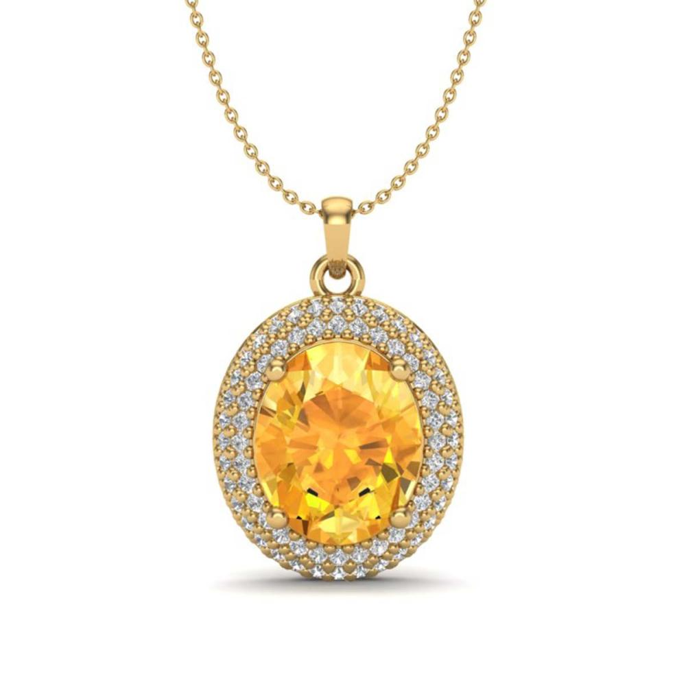 4 ctw Citrine & VS/SI Diamond Necklace 18K Yellow Gold - REF-92N4A - SKU:20561