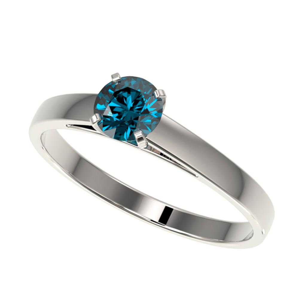 0.50 ctw Intense Blue Diamond Ring 10K White Gold - REF-50Y3X - SKU:32958