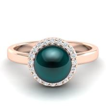 0.25 CTW Micro Pave Halo VS/SI Diamond & Peacock Pearl Ring 14K Rose Gold - REF-40M2H - 21635