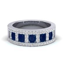 2.34 CTW Sapphire & Micro Pave VS/SI Diamond Inspired B& Ring 10K White Gold - REF-62M2H - 20828