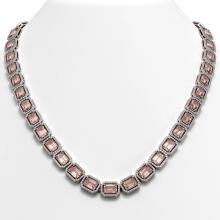 50.99 CTW Morganite & Diamond Halo Necklace 10K White Gold - REF-1273Y5K - 41342