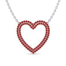 3.50 CTW Red Sapphire Heart Halo Designer Necklace 10K White Gold - REF-65T6M - 20484
