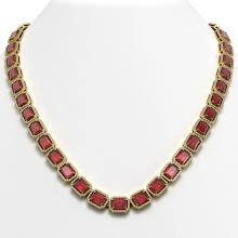 60.49 CTW Tourmaline & Diamond Halo Necklace 10K Yellow Gold - REF-1024M8H - 41350