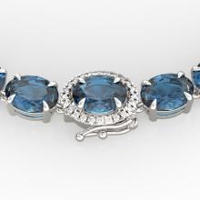 45.25 CTW London Blue Topaz & VS/SI Diamond Tennis Micro Halo Necklace 14K White Gold - REF-236W4F - 40289