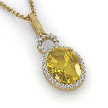3 CTW Citrine & Micro Pave Solitaire Halo VS/SI Diamond Necklace 14K Yellow Gold - REF-45Y3K - 22758