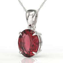 3 CTW Pink Tourmaline Designer Inspired Solitaire Necklace 18K White Gold - REF-54M5H - 21876