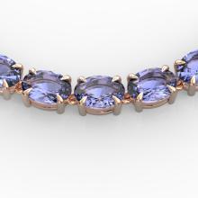 56 CTW Tanzanite Eternity Designer Inspired Tennis Necklace 14K Rose Gold - REF-631H3A - 23410