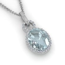 3 CTW Aquamarine & Micro Pave Halo VS/SI Diamond Necklace 14K White Gold - REF-61F8N - 22753