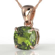 2 CTW Cushion Cut Green Tourmaline Designer Solitaire Necklace 14K Rose Gold - REF-40K2W - 21945