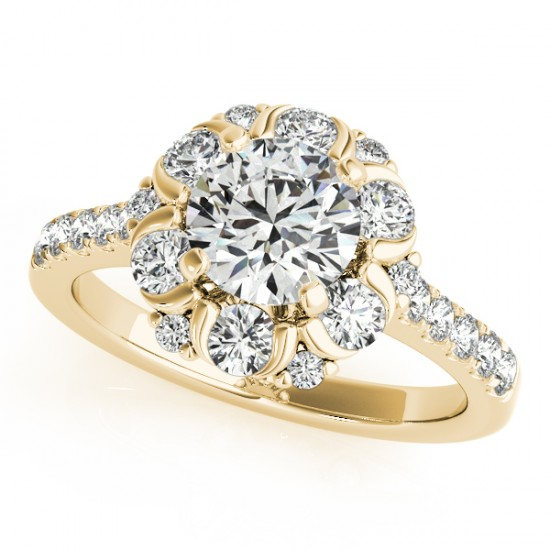 1.55 CTW Certified VS/SI Diamond Solitaire Halo Ring 14K Yellow Gold - REF-158W4F - 24517