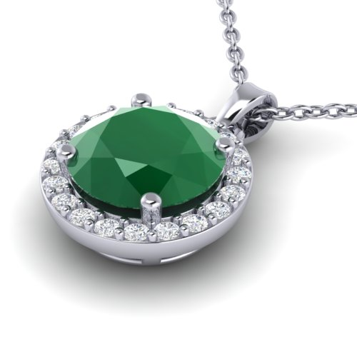 2 CTW Emerald & Halo VS/SI Diamond Micro Pave Necklace Solitaire 18K White Gold - REF-49T3M - 21560
