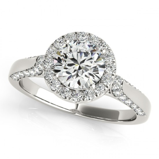 1.5 CTW Certified VS/SI Diamond Solitaire Halo Ring 14K White Gold - REF-370Y9K - 24231