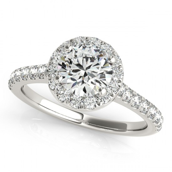 1.7 CTW Certified VS/SI Diamond Solitaire Halo Ring 14K White Gold - REF-411A5X - 24243