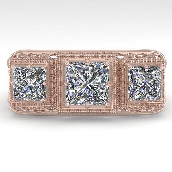 2 CTW VS/SI Princess Diamond Ring 14K Rose Gold - REF-460X6T - 29858