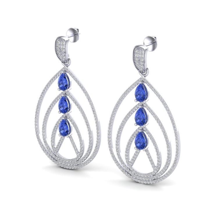 4 CTW Tanzanite & Micro Pave VS/SI Diamond Designer Earrings 18K White Gold - REF-307A3X - 22461