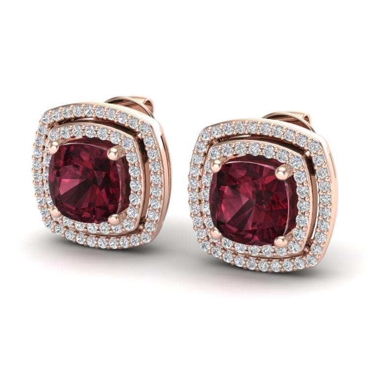 4.55 CTW Garnet & Micro Pave VS/SI Diamond Halo Earrings 14K Rose Gold - REF-84F8N - 20164