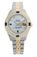 Rolex Men's Two Tone 14K Gold/SS, QuickSet, Diam/Sapphire Dial & Diam Bezel - REF-557K3T