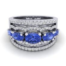 2.25 CTW Tanzanite & Micro Pave VS/SI Diamond Designer Ring 10K White Gold - REF-80X2T - 20807