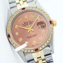 Rolex Men's Two Tone 14K Gold/SS, QuickSet, Diam Dial & Diam/Ruby Bezel - REF-557X6Y