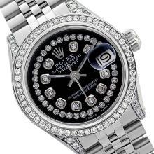 Rolex Men's Stainless Steel, QuickSet, Diamond Dial & Diamond Bezel - REF-587T4K