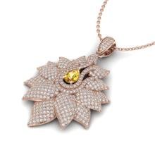 3 CTW Yellow Sapphire & Micro Pave VS/SI Diamond Necklace 14K Rose Gold - REF-227Y3K - 22571