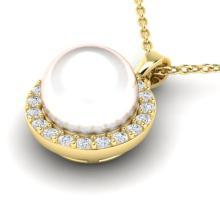 0.25 CTW Micro Halo VS/SI Diamond & White Pearl Necklace 18K Yellow Gold - REF-40A9X - 21579