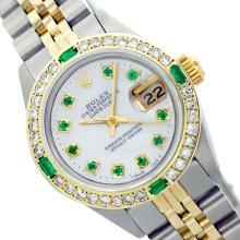 Rolex Men's Two Tone 14K Gold/SS, QuickSet, Diam/Emerald Dial & Diam/Emerald Bezel - REF-557F7M