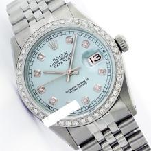 Rolex Men's Stainless Steel, QuickSet, Diamond Dial & Diamond Bezel - REF-521Y7X