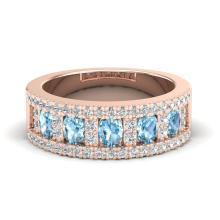 2 CTW Topaz & Micro Pave VS/SI Diamond Designer Inspired Band Ring 10K Rose Gold - REF-60N4Y - 20818