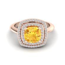 1.77 CTW Citrine & Micro VS/SI Diamond Pave Halo Ring 14K Rose Gold - REF-54Y5K - 20756