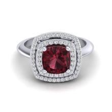 2.27 CTW Garnet & Micro VS/SI Diamond Pave Halo Ring 18K White Gold - REF-65Y3K - 20762