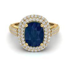 3.50 CTW Sapphire & Micro Pave VS/SI Diamond Halo Ring 18K Yellow Gold - REF-143T6M - 20724