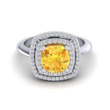 1.77 CTW Citrine & Micro VS/SI Diamond Pave Halo Ring 18K White Gold - REF-63F6N - 20757